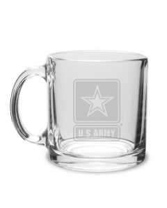US Army Deep Etched 13 OZ CLEAR GLASS COFFEE MUG